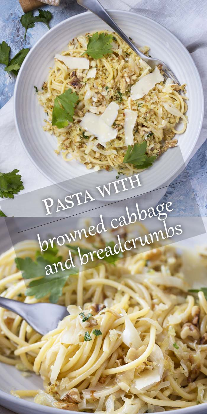 Pasta in a wide bowl and around a fork with text overlay - Pasta with Cabbage and Breadcrumbs.