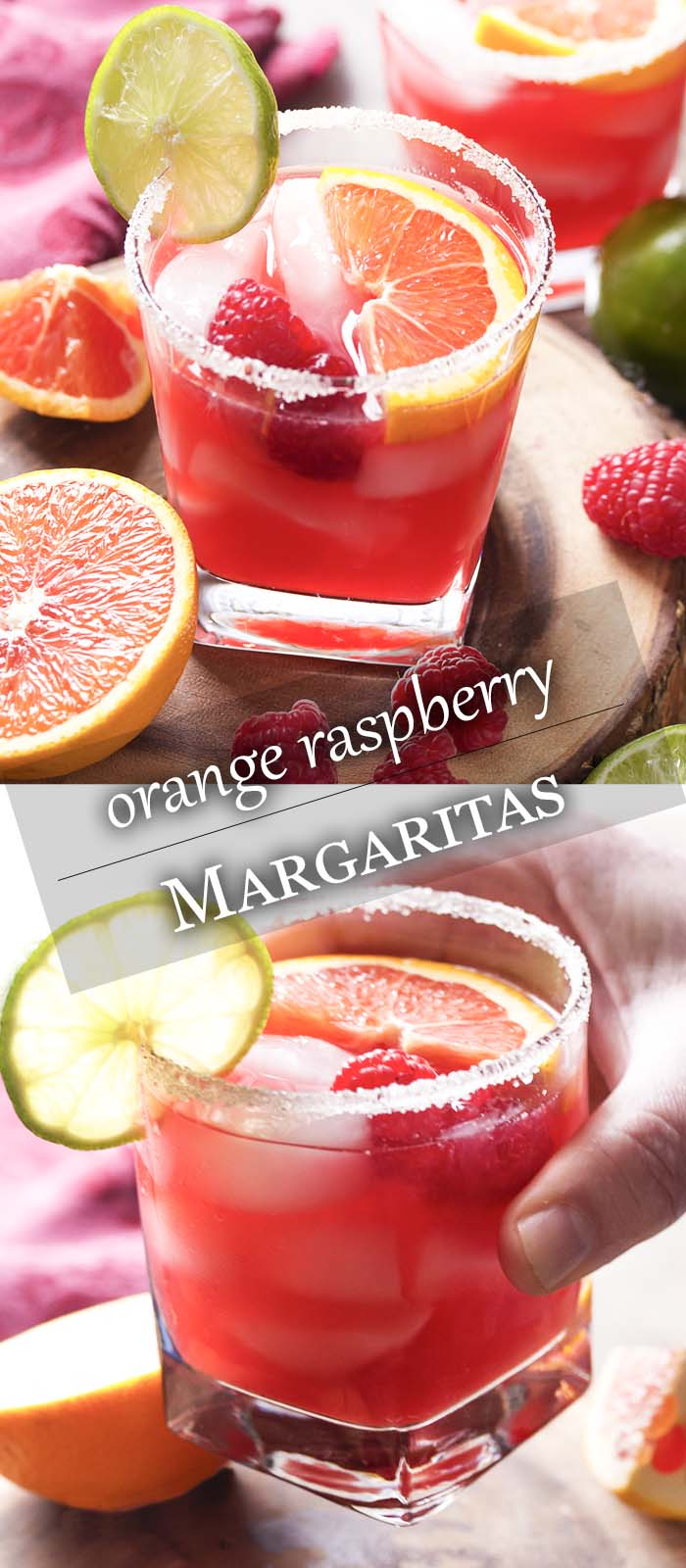 Pink cocktail in a sugar rimmed glass being lifted with text overlay - Orange Raspberry Margaritas.