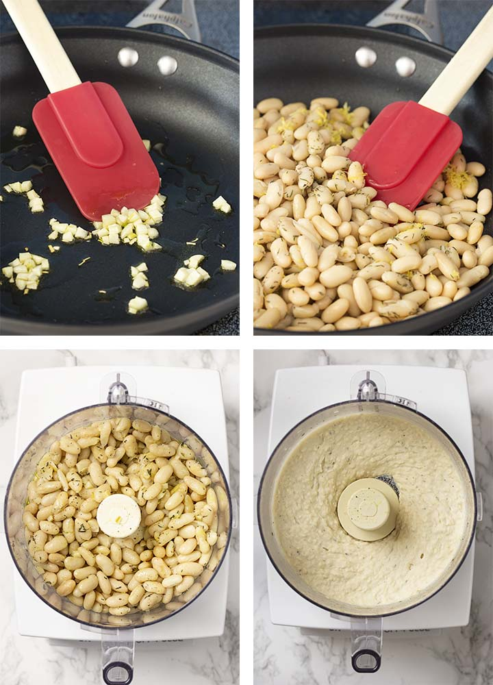Step by step on how to make Tuscan white bean dip.