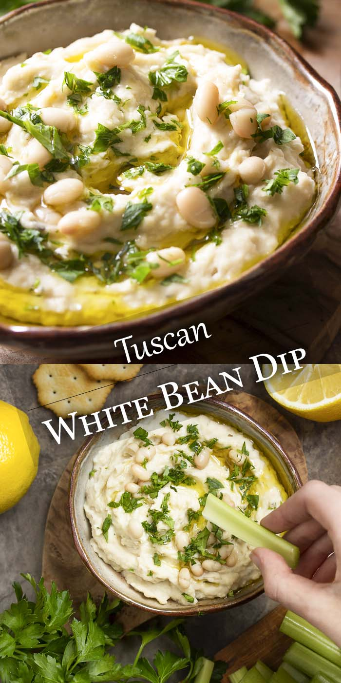 Bean dip in a bowl topped by parsley with text overlay - White Bean Dip.