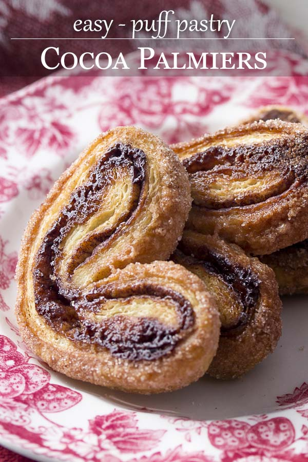 Making cinnamon cocoa palmiers is a snap with prepared puff pastry! These chocolate French cookies, aka elephant ears, are tasty treats for the holidays. | justalittlebitofbacon.com #elephantears #palmiers #puffpastry #frenchrecipes
