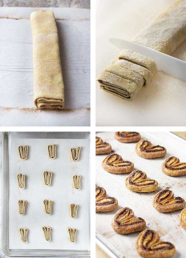 Step by step on how to make cocoa palmiers - cutting and baking the cookies.