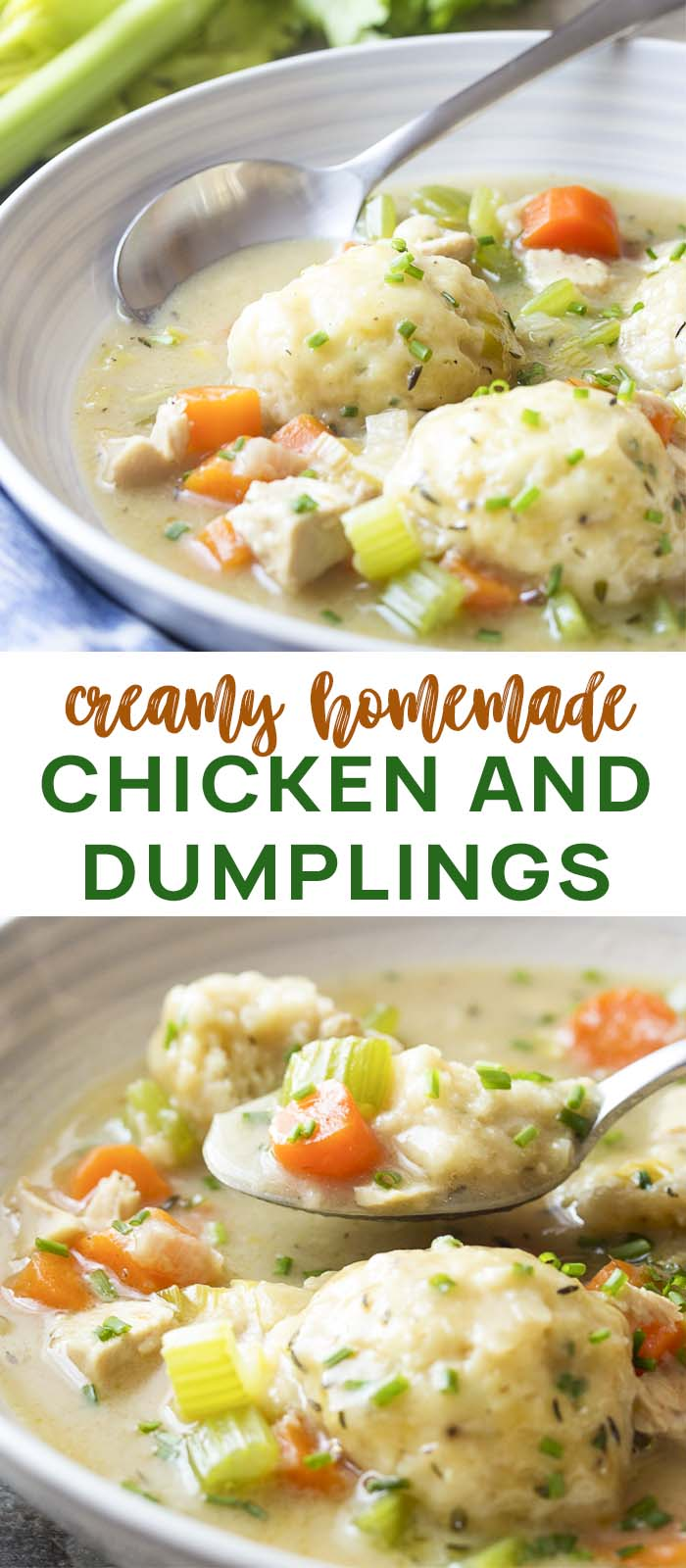 Chicken soup and dumplings in a wide bowl with text overlay - Chicken and Dumplings.