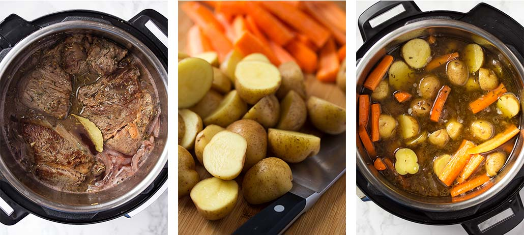 Step by step on how to make pressure cooker pot roast - brasing the beef, cooking the vegetables