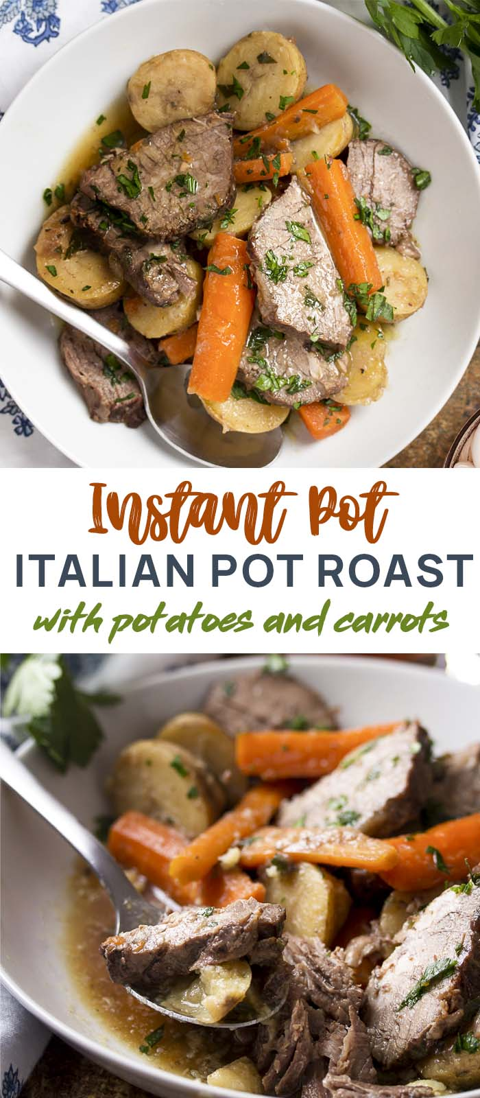 My Italian-style pressure cooker pot roast is braised in red wine until the meat just falls apart and the potatoes and carrots are tender. Easy instant pot comfort food dinner! | justalittlebitofbacon.com #italianrecipes #dinnerrecipes #comfortfood #pressurecooker #instantpot #potroast