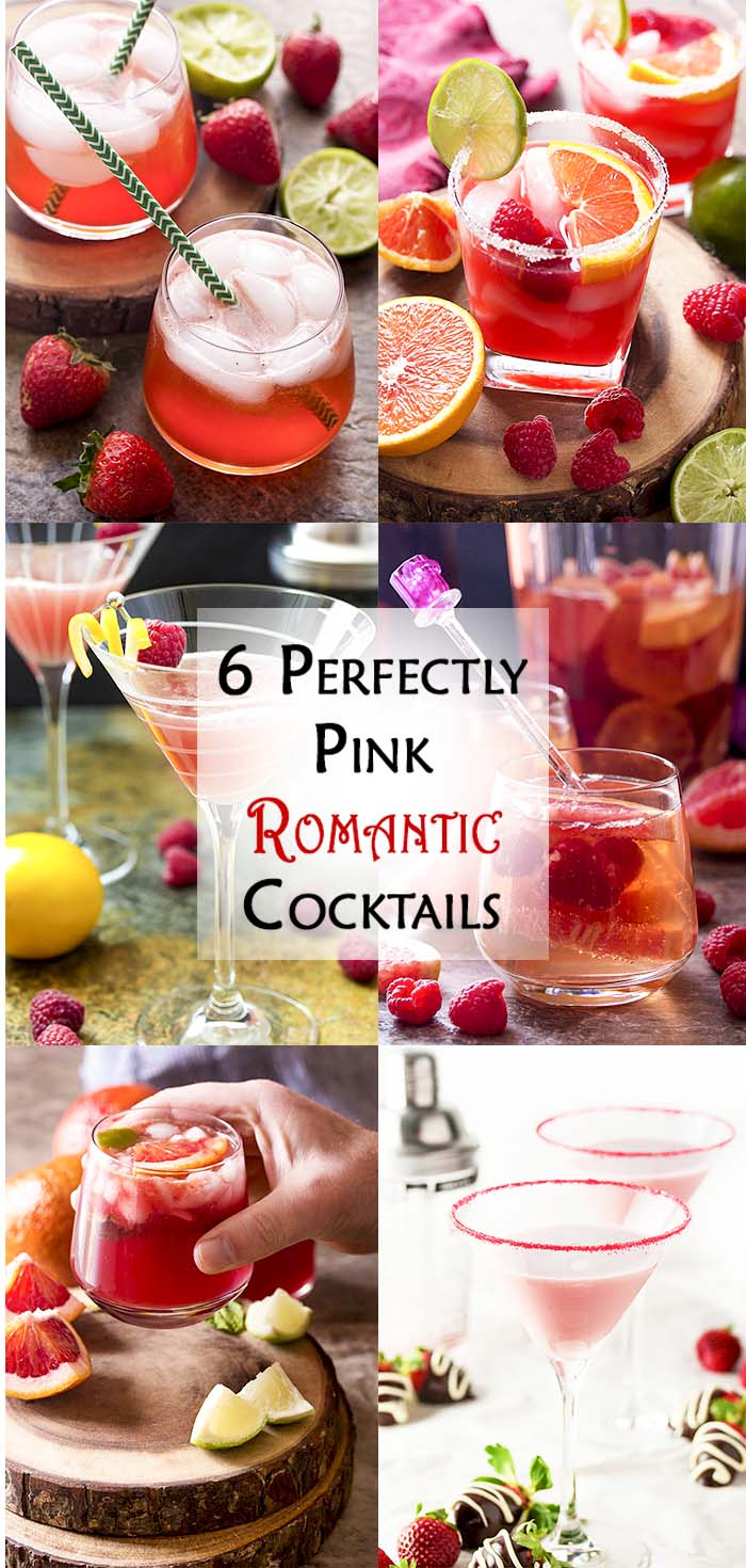 Collage of six cocktails with text overlay - Perfectly Pink Romantic Cocktails.