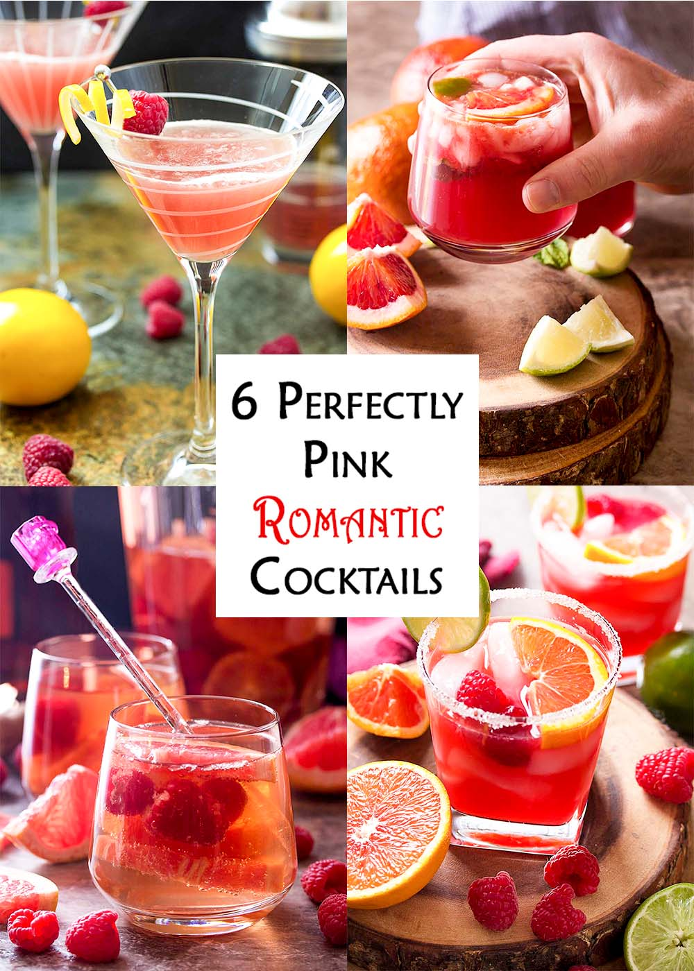Collage of four cocktails with text overlay - Perfectly Pink Romantic Cocktails.