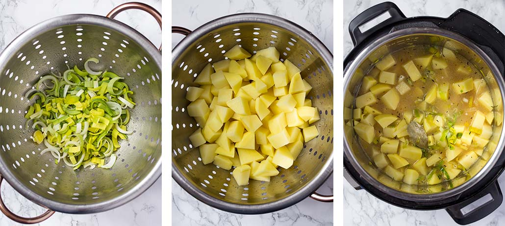 Step by step on how to make classic potato leek soup.