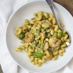Shrimp Pesto Pasta with Walnuts