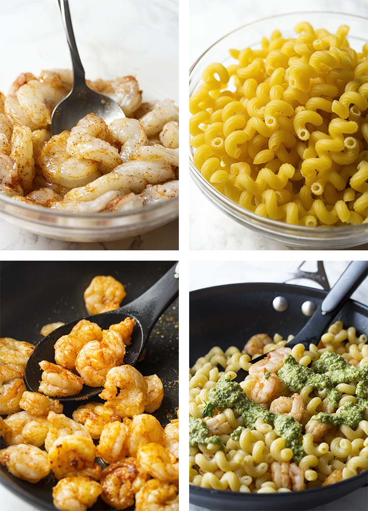 Step by step on how to make shrimp pesto pasta.