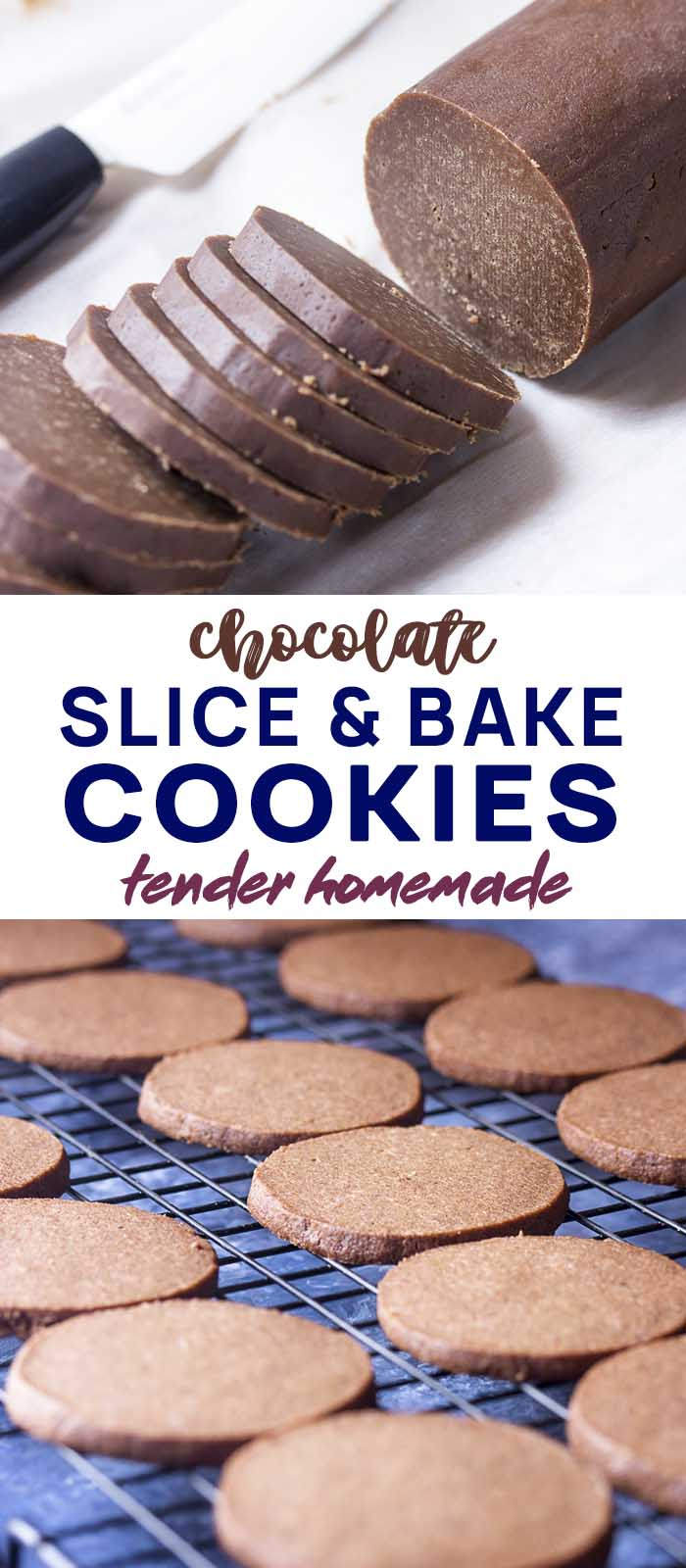 Log of sliced dough and baked cookies on a rack with text overlay - Slice and Bake Cookies.
