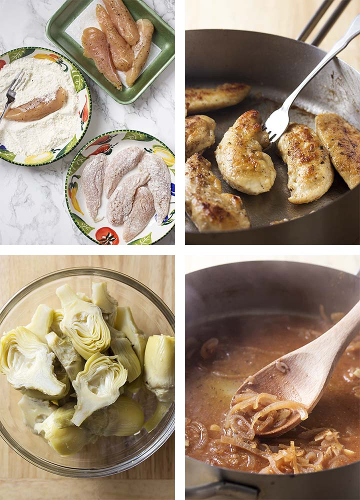 Step by step on how to make skillet chicken and artichokes.
