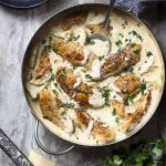 Skillet chicken and artichokes is quick, weeknight comfort food! Chicken tenders are pan seared and then nestled in a creamy white wine and parmesan sauce. Great Italian and Mediterranean flavors! | justalittlebitofbacon.com #italianrecipes #mediterraneanrecipes #chickenrecipes #skilletchicken #chickentenders #chicken #artichokes