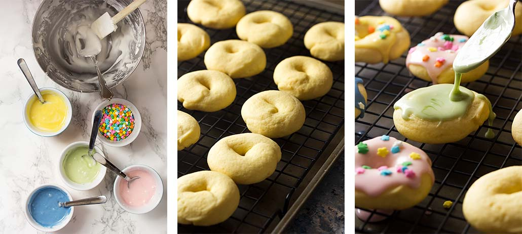 Step by step on how to ice Italian Easter cookies.