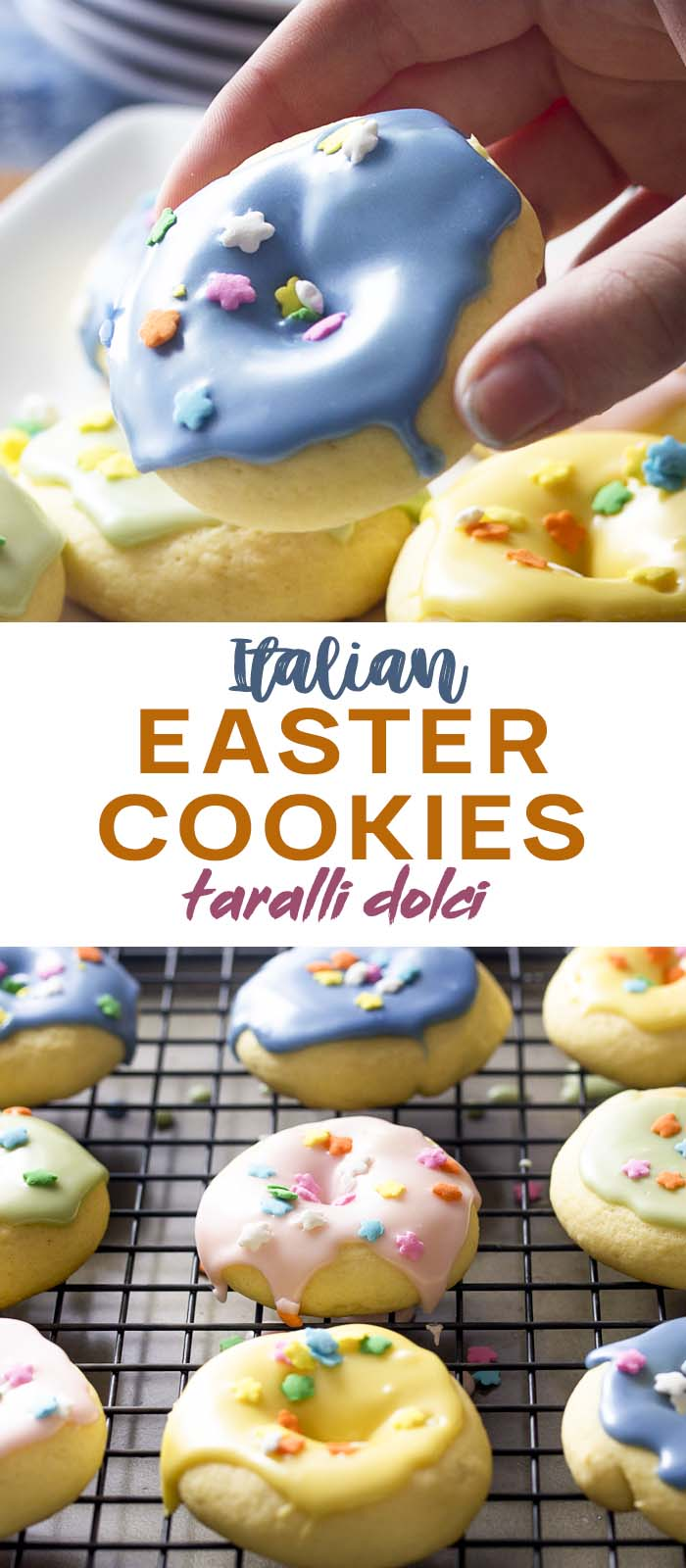 Hand holding up one cookie over a tray of others with text overlay - Italian Easter Cookies.