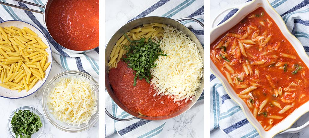 Step by step on how to make vegetarian baked penne.