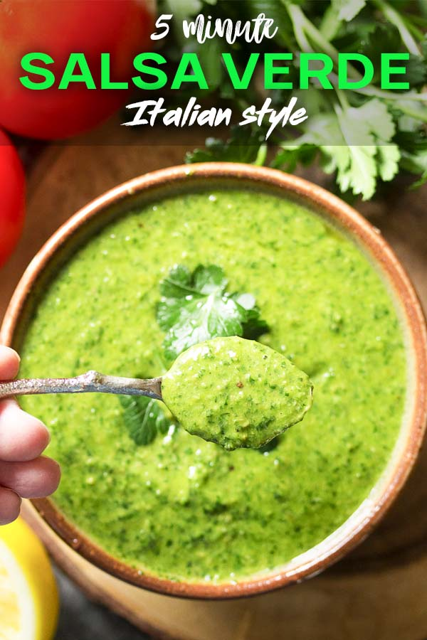Two views of Green herb sauce in a bowl with text overlay - Italian Salad Verde.