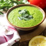 Italian salsa verde is a fresh and easy homemade green sauce made from parsley and basil. It's great on everything from pasta to seafood and chicken to steak! | justalittlebitofbacon.com #italianrecipes #saucerecipes #sauces #parsley #anchovies