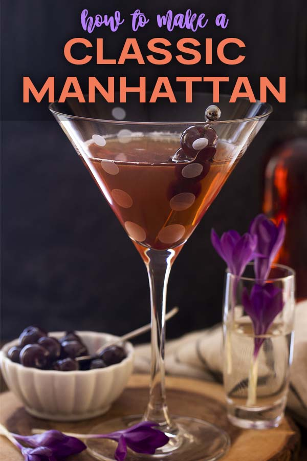 A Manhattan cocktail against a black background with text overlay - Classic Manhattan