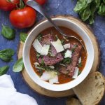 Tomato Basil Soup with a Red Wine Crouton
