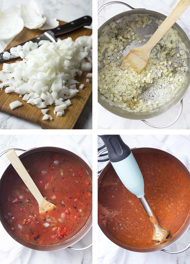 Step by step on how to make the soup.