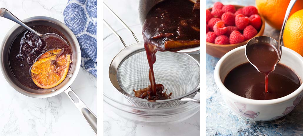 Step by step on how to make the raspberry orange port sauce.