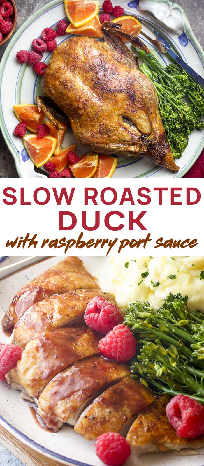Whole duck on a platter and sliced breast on a plate with text overlay - Slow Roasted Duck.