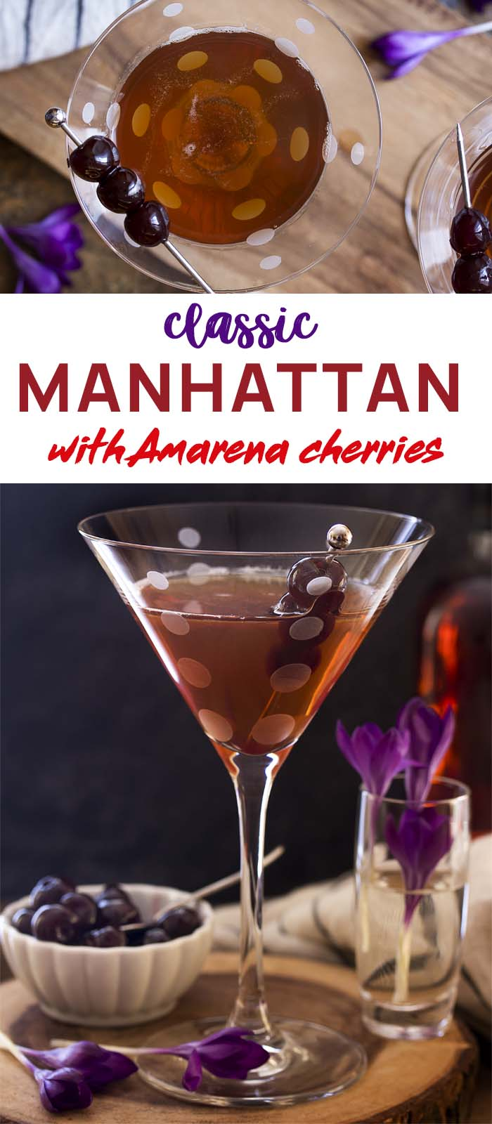 Two view of a Manhattan in a martini glass with text overlay - Classic Manhattan
