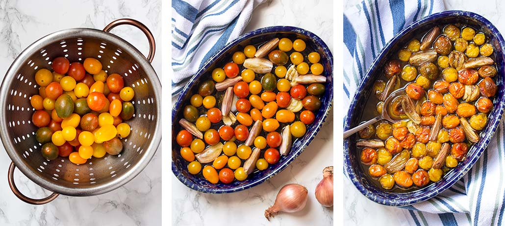 Step by step on how to make roasted cherry tomato caprese salad.