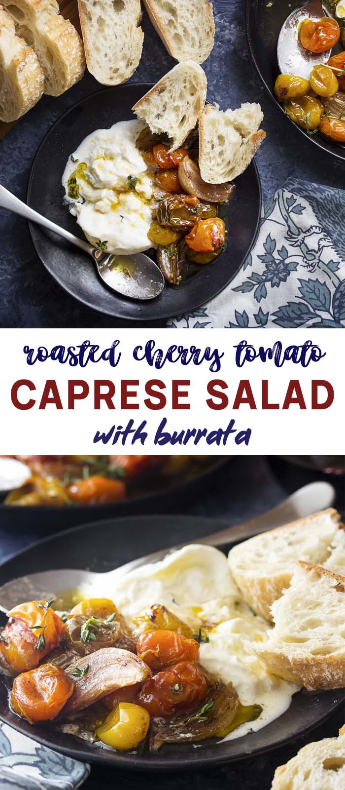 Roasted tomato salad on a serving plate with text overlay - Caprese Salad