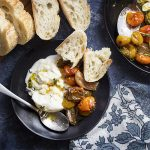 Slow roasting tomatoes, shallots, and garlic together in a balsamic and olive oil dressing makes for an intensely flavored and delicious cherry tomato caprese salad! Serve this Italian appetizer or side dish with burrata cheese and crusty bread. | justalittlebitofbacon.com #saladrecipes #italianrecipes #tomatoes #caprese #farmersmarket #burrata