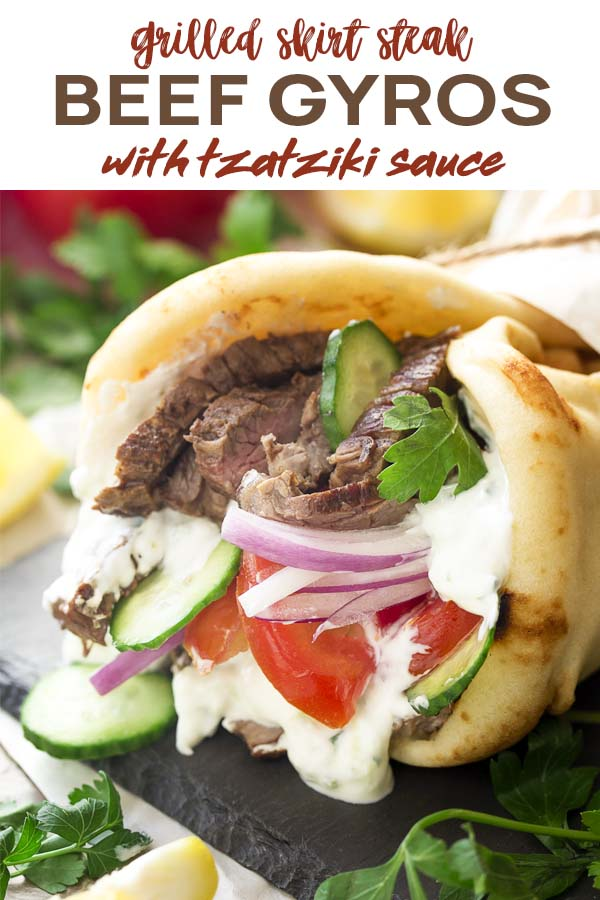 Close up of a gyro wrap with text overlay - Beef Gyros