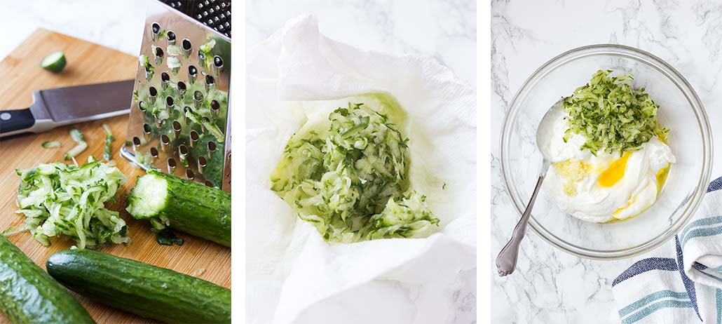 Step by step on how to make tzatziki sauce.