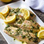 Slow Roasted Salmon with Lemon Herb Sauce