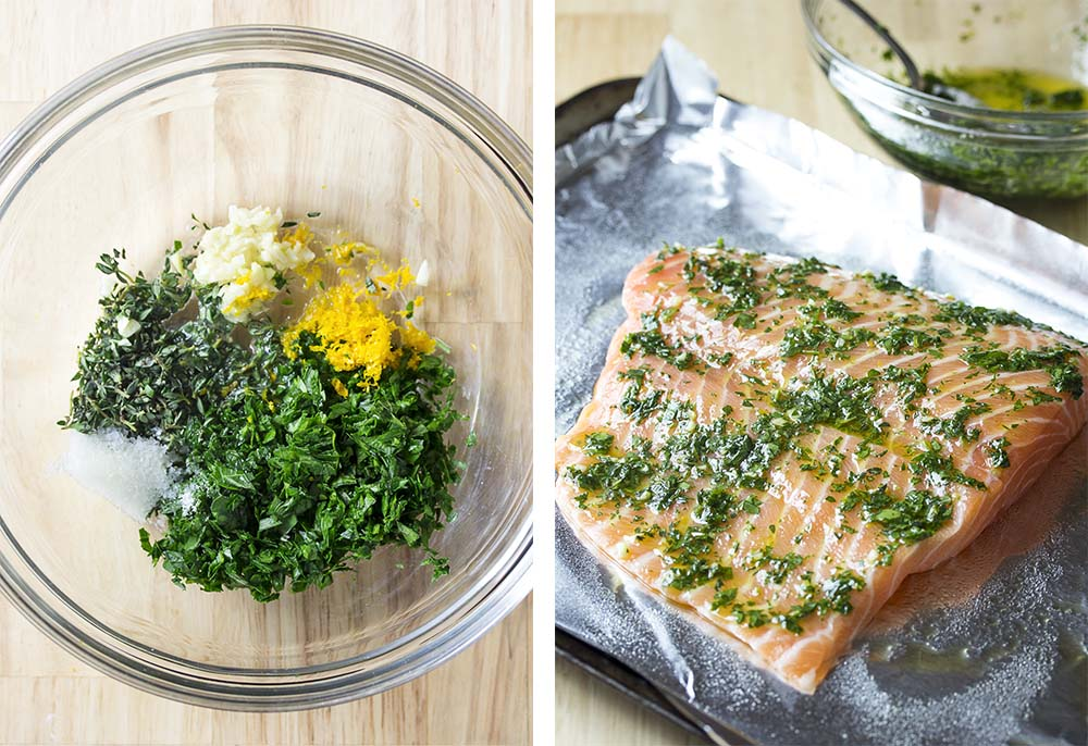 Step by step on how to make slow roasted salmon.