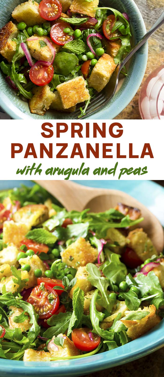 Bread salad in a serving bowl and dinner bowl with text overlay - Spring Panzanella