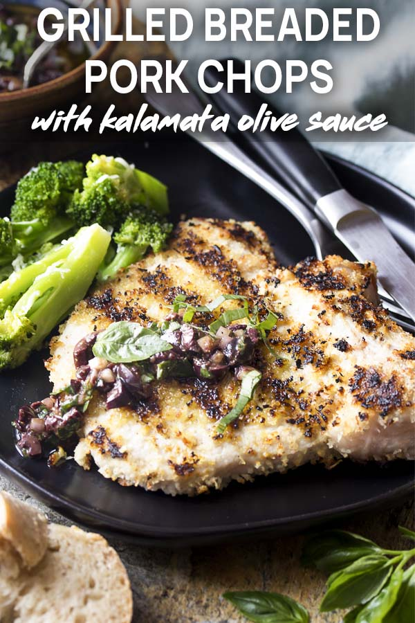 A plate of pork chops and black olive sauce with text overlay - Grilled Breaded Pork Chops.