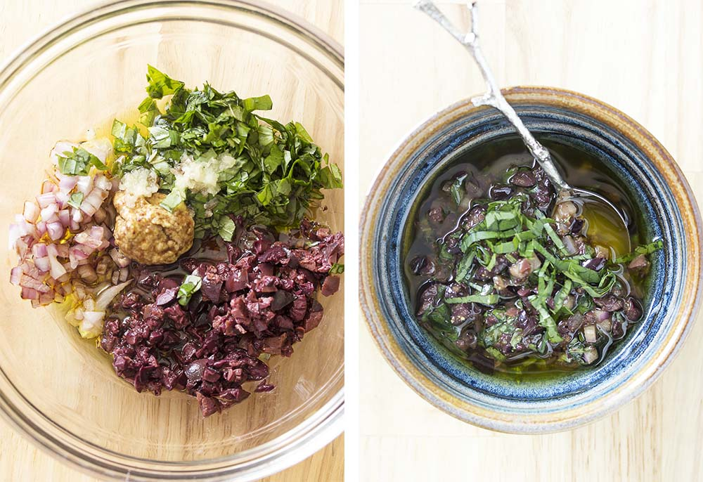 Step by step on how to make the black olive and basil sauce for the pork chops.