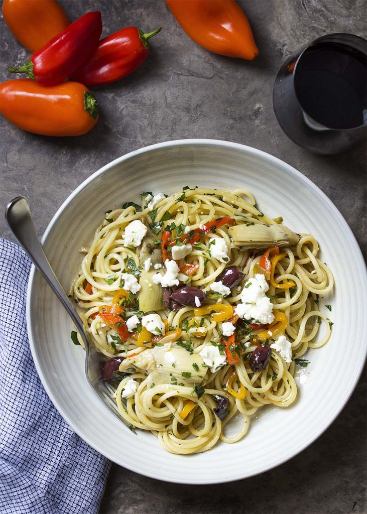 Vegetarian Mediterranean Pasta with Feta and Artichokes