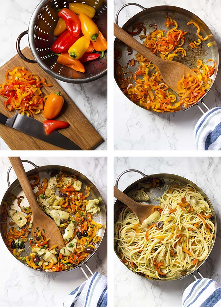 Step by step on how to make vegetarian Mediterranean pasta.