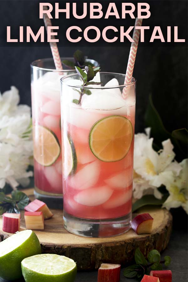 Two rhubarb drinks in tall glasses with text overlay - Rhubarb Lime Cocktail