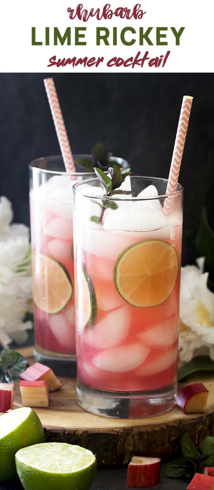 Two rhubarb cocktails in tall glasses with text overlay - Rhubarb Lime Rickey