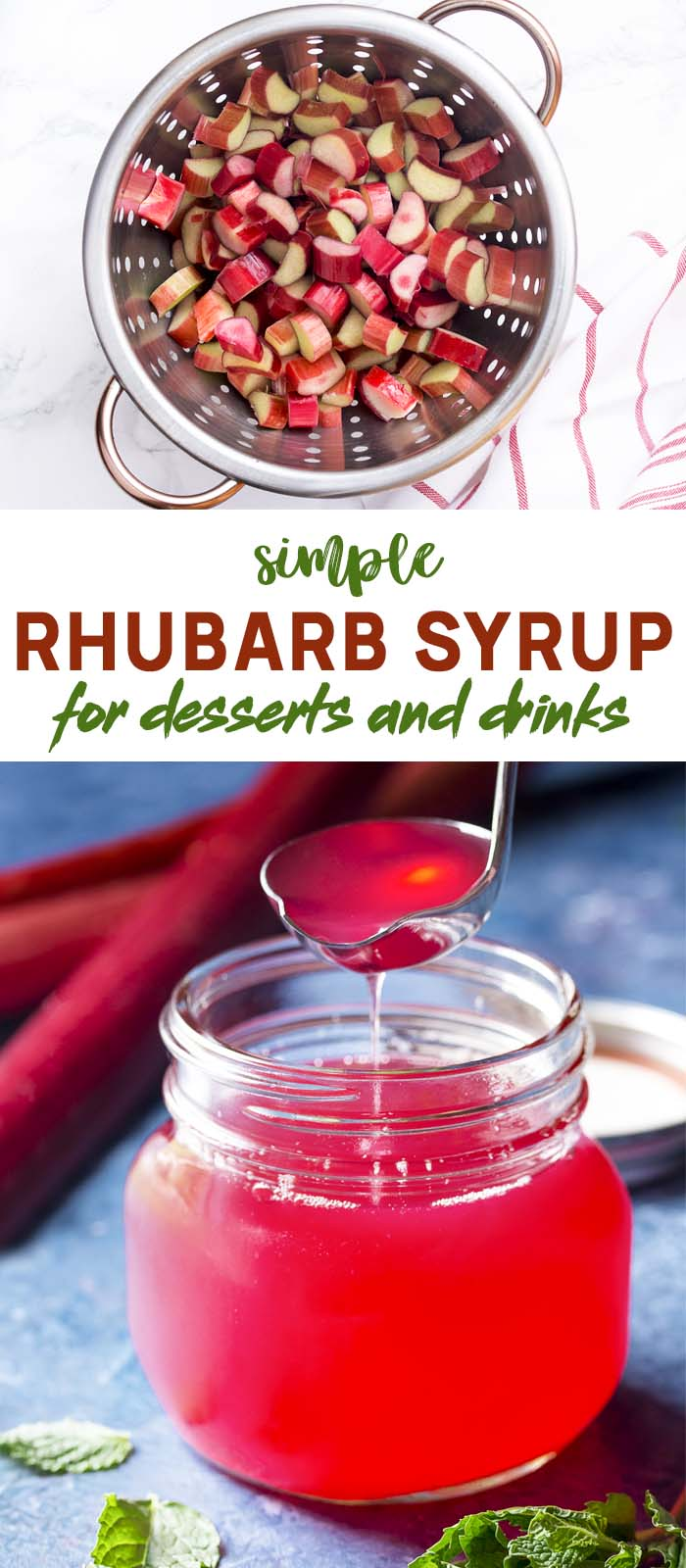 Chopped rhubarb in a colander and glass jar of syrup with text overlay - Simple Rhubarb Syrup.