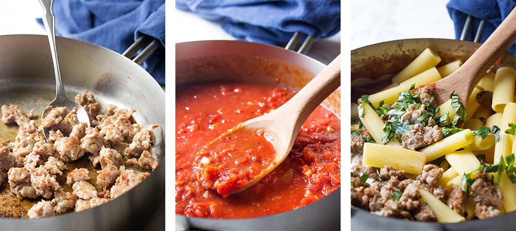 Step by step on how to make the sauce for sausage pasta bake.