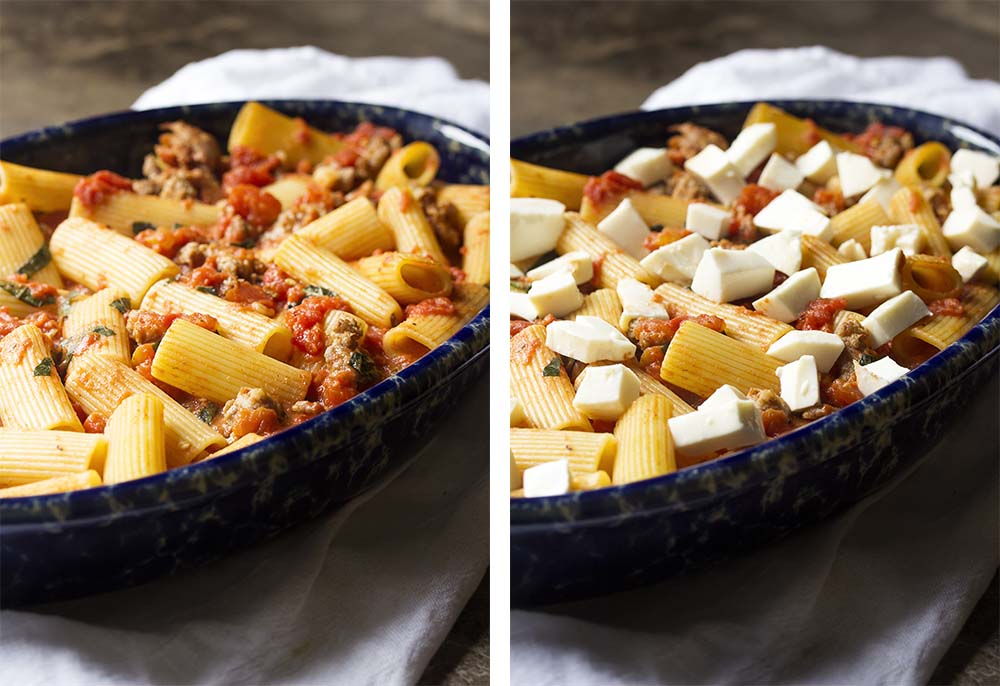 Step by step on how to finish the sausage pasta bake.