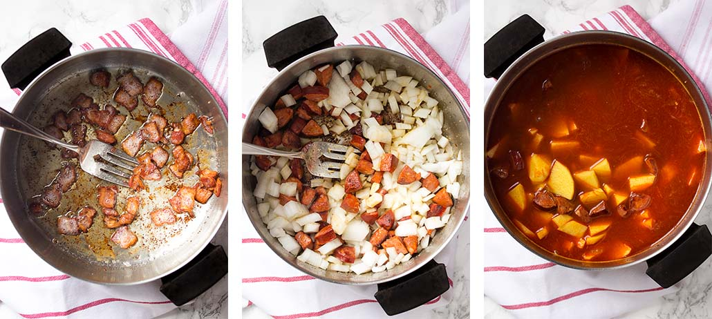 Step by step on how to make potato chorizo soup.