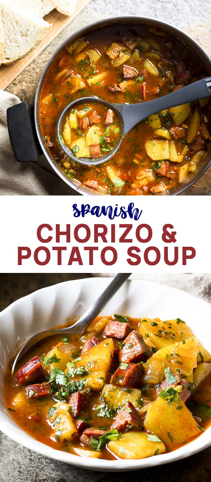 A pot and a bowl of Spanish soup with text overlay - Chorizo and Potato Soup.