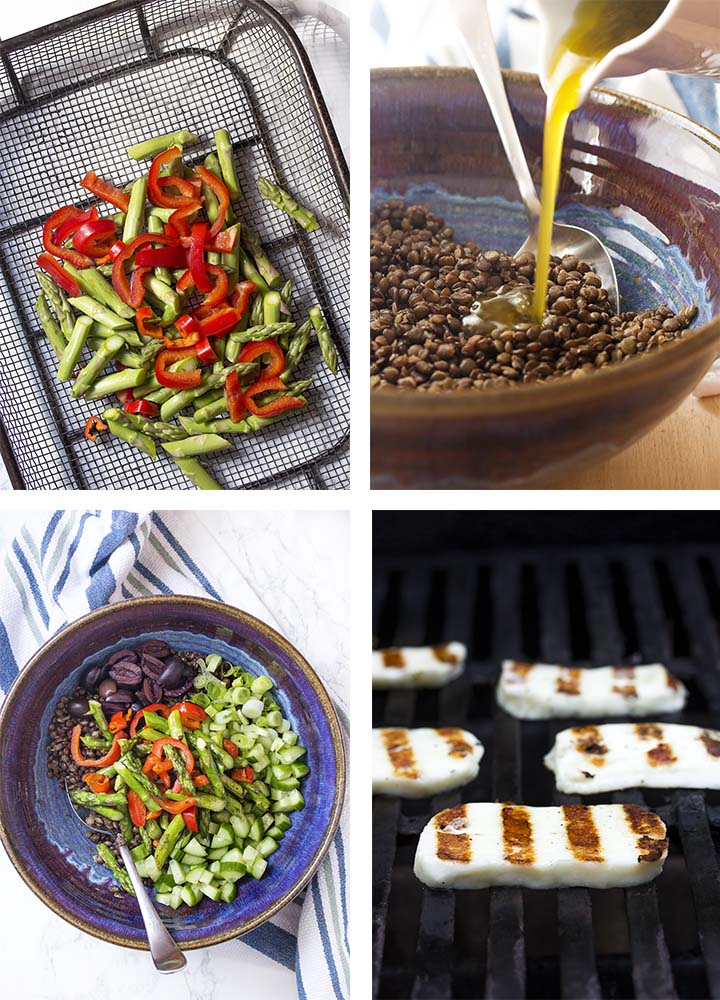 Step by step on how to make halloumi lentil salad.
