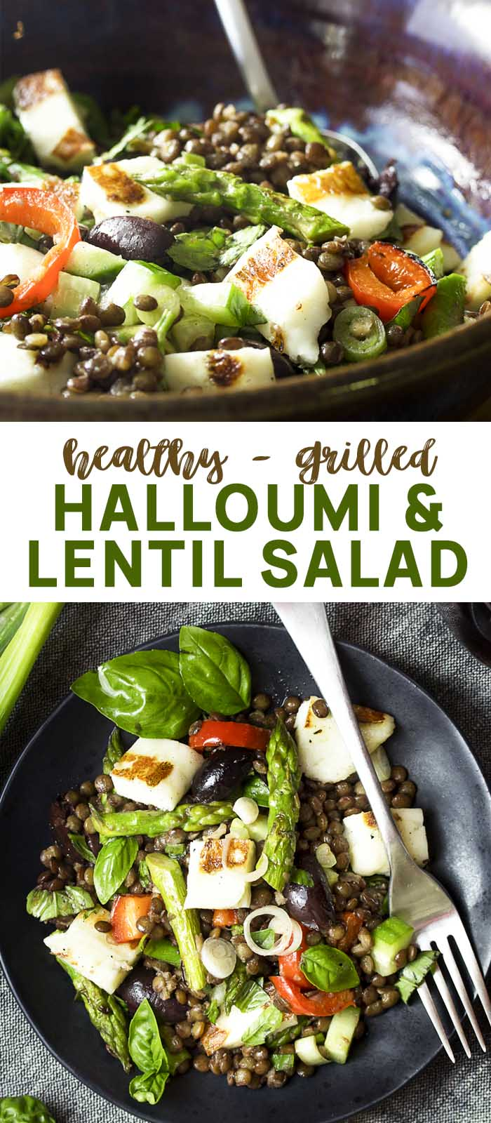 Halloumi lentil salad in a bowl and plate with text overlay - Halloumi Lentil Salad.
