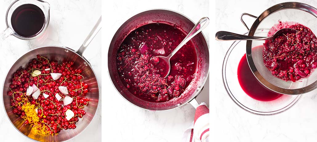 Step by step on how to make red currant sauce.